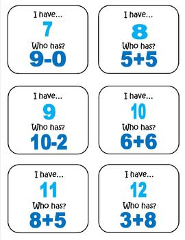 """Math Game-""""I have...who has?"""""""