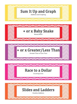 Math Game Labels
