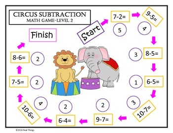 Math Game Mats- Circus Themed Addition and Subtraction Games