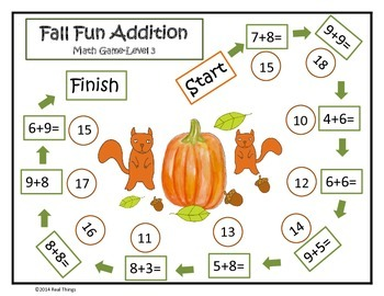 Math Game Mats- Fall Themed Addition and Subtraction Games