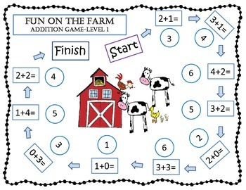 Math Game Mats-Farm Themed Addition and Subtraction Games