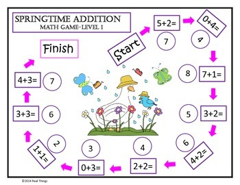Math Game Mats-Spring Themed Addition and Subtraction Games