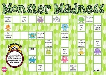 Monster Madness (monster themed Math game board)