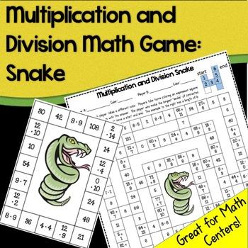 Math Game (No Prep): Multiplication and Division Snake