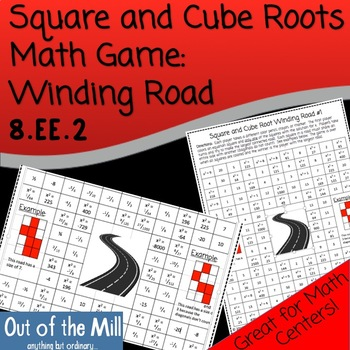 Math Game (No Prep): Square and Cube Roots Winding Road (8.EE.2)