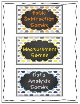 Math Game Organization Bin Labels