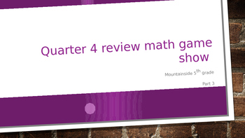 Math Game Show 3 (Algebra, Ratios, Graphs, Data, Solids, Equations, Percentages)