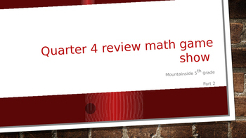 Math Game Show 1 (Algebra, Ratios, Graphs, Data, Solids, Equations, Percentages)
