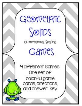 3-Dimensional Shapes Game Set- 4 Game Variations