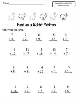 Math Game for Addition Facts