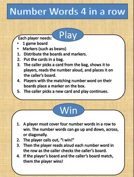 Math Game for Reading and Recognizing Number Words