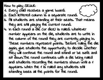 SKUNK: An Addition Game