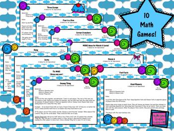 10 No-Prep Math Games: Addition Subtraction Multiplication Division Base Ten