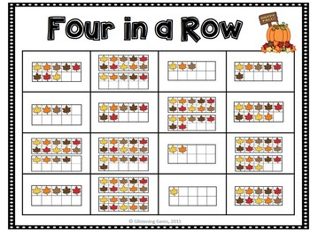 Fall Math Center - Four in a Row - Numbers 1-20, Number Sense, Tens Frames