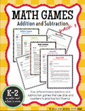Math Games Addition and Subtraction K-2 {Pack 1} (Math Fac