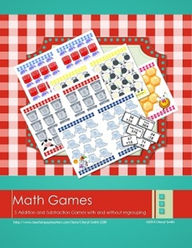 Math Center Games: Addition and Subtraction with/without Regrouping