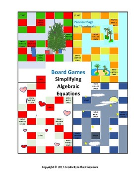 Math Games: Algebra 1 Evaluating Expressions Board Games