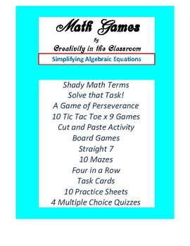 Math Games: Algebra 1 Evaluating Expressions - Variety of Games