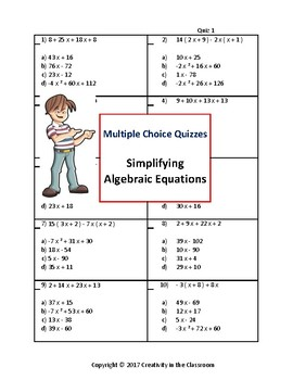 Math Activities: Evaluating Expressions Multiple Choice Quizzes