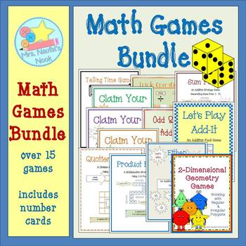 Math Games Bundle - Basic Operations, Place Value, Time, D