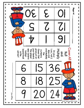 Math Games COVER-ALL MULTIPLICATION: Dice Game for Partners (Patriotic Theme)