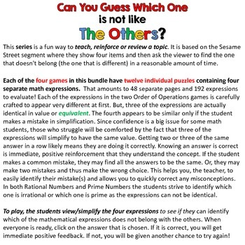 Math Games - Can you guess which one? - Bundle I