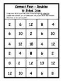 Math Games - Connect Four Doubles Dice Game - 6-Sided Dice- Math Dice Games