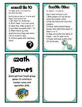 Math Games - Direction Cards