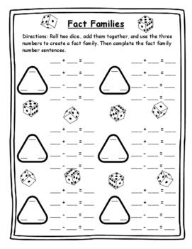 Math Games Fact Family Dice Game Math Dice Games Fact Fami