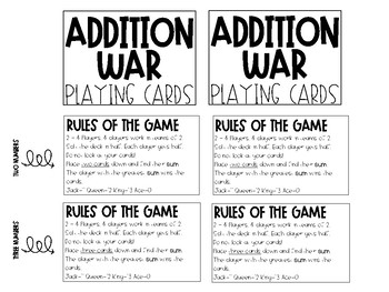 Math Games Fact and Fraction Fluency Covers & Directions
