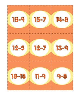 Math Games (Grades 1-2): Concentration (Subtraction Facts)