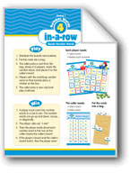 Math Games (Grades 1-2): Number Words 4-in-a-Row (Reads Number Words)