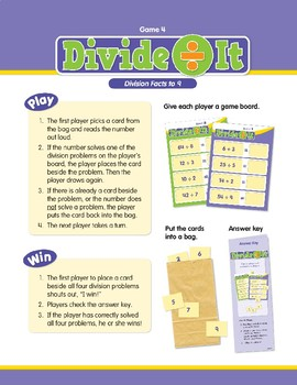 Math Games (Grades 2-3): Divide It (Division Facts to 9)