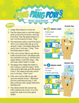 Math Games (Grades 3-4): Ping Pang Pow! (Money: Equal Amounts)