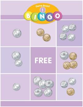 Math Games (Grades K-1): Bingo (Identifies Value of Coins)