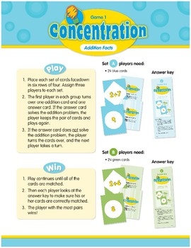 Math Games (Grades K-1): Concentration (Addition Facts)
