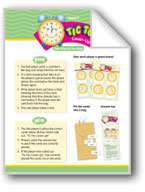 Math Games (Grades K-1): Tic Toc Cover-Up (Tells Time to the Hour)