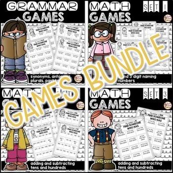 Math and Grammar Games ~ Grammar and Place Value Bundle