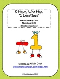 Math Games - I Have, Who Has - 1 Less Than, Up to 20 - 3 Sets!