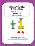 Math Games - I Have, Who Has - 1 More Than, Up to 20 - 3 Sets!