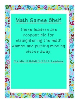 Math Games Leader Description Sign