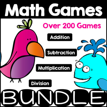 Mega Math Game Bundle Math Facts Addition, Subtraction, Mu