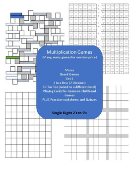 Math Games: Multiplication 2's to 9's - Large Variety of Games