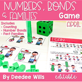 Math Games: Numbers, Number Bonds, and Fact Families | April (editable)