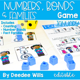 Math Games: Numbers, Number Bonds, and Fact Families | January (editable)