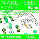Math Games: Numbers, Number Bonds, and Fact Families | March (editable)