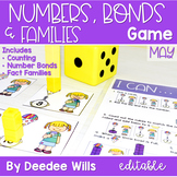 Math Games: Numbers, Number Bonds, and Fact Families | May (editable)