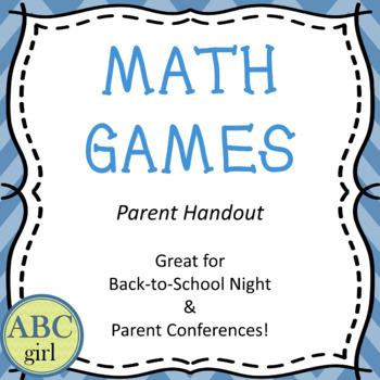 Math Games Back to School or Meet the Teacher Handout