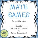 Back to School Meet the Teacher Math Games Parent Handout