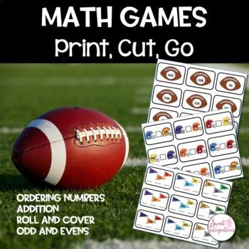 MATH GAME CENTERS - Print, Cut, Go Football Theme